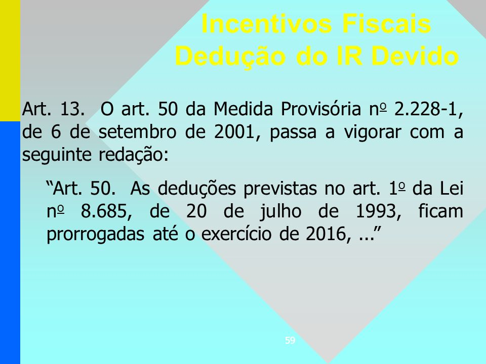 59 Art. 13. O art. 50 da Medida Provisória n o 2.228-1, de 6 de setembro de 2001, passa a vigorar com a seguinte redação: Art. 50. As deduções previst