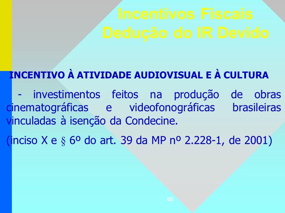 60 INCENTIVO À ATIVIDADE AUDIOVISUAL E À CULTURA - investimentos feitos na produção de obras cinematográficas e videofonográficas brasileiras vinculad