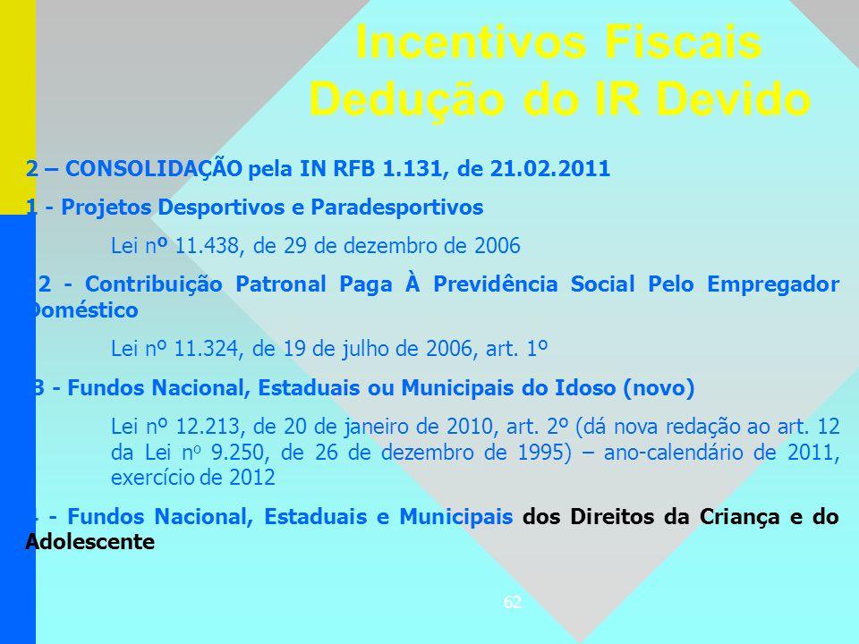 62 2 – CONSOLIDAÇÃO pela IN RFB 1.131, de 21.02.2011 1 - Projetos Desportivos e Paradesportivos Lei nº 11.438, de 29 de dezembro de 2006 2 - Contribui