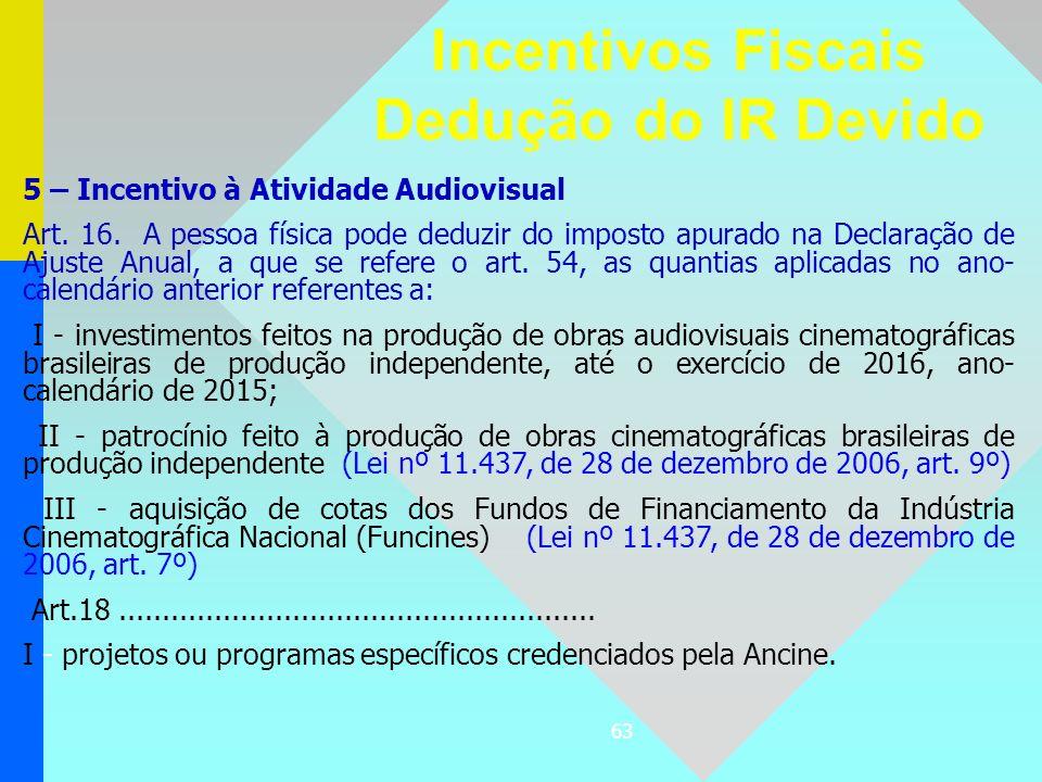 63 5 – Incentivo à Atividade Audiovisual Art. 16. A pessoa física pode deduzir do imposto apurado na Declaração de Ajuste Anual, a que se refere o art