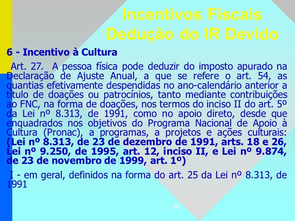 64 6 - Incentivo à Cultura Art. 27. A pessoa física pode deduzir do imposto apurado na Declaração de Ajuste Anual, a que se refere o art. 54, as quant