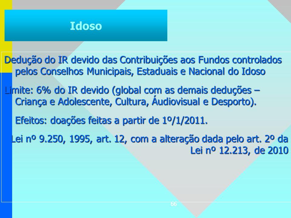 66 Dedução do IR devido das Contribuições aos Fundos controlados pelos Conselhos Municipais, Estaduais e Nacional do Idoso Limite: 6% do IR devido (gl