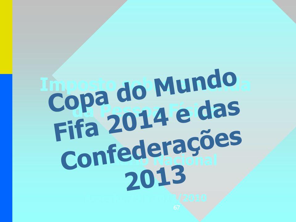 67 Imposto sobre a Renda da Pessoa Física Seminário Nacional Aracaju, 23 a 26/2/2010 Copa do Mundo Fifa 2014 e das Confederações 2013