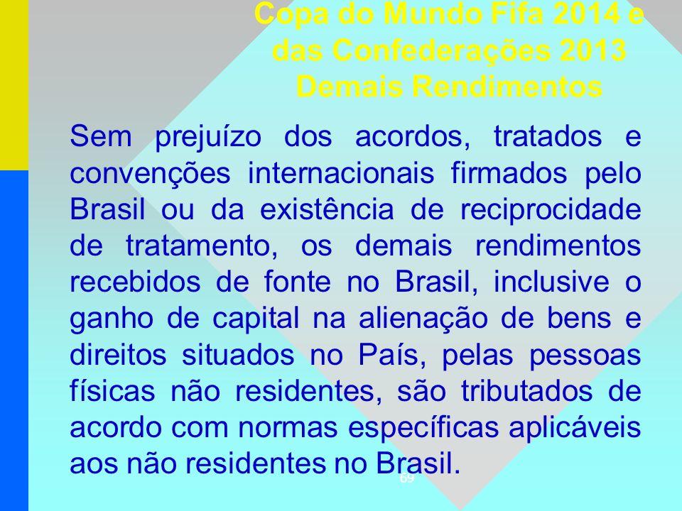 69 Sem prejuízo dos acordos, tratados e convenções internacionais firmados pelo Brasil ou da existência de reciprocidade de tratamento, os demais rend