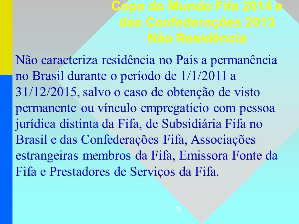 71 Não caracteriza residência no País a permanência no Brasil durante o período de 1/1/2011 a 31/12/2015, salvo o caso de obtenção de visto permanente