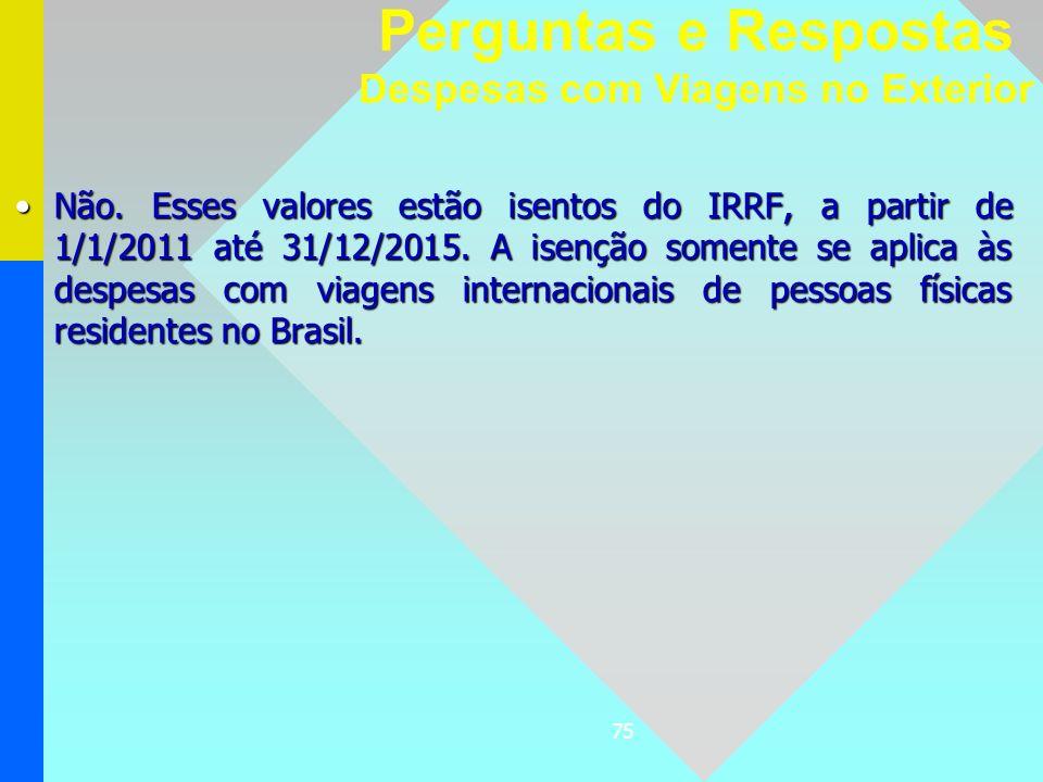 75 Não. Esses valores estão isentos do IRRF, a partir de 1/1/2011 até 31/12/2015. A isenção somente se aplica às despesas com viagens internacionais d