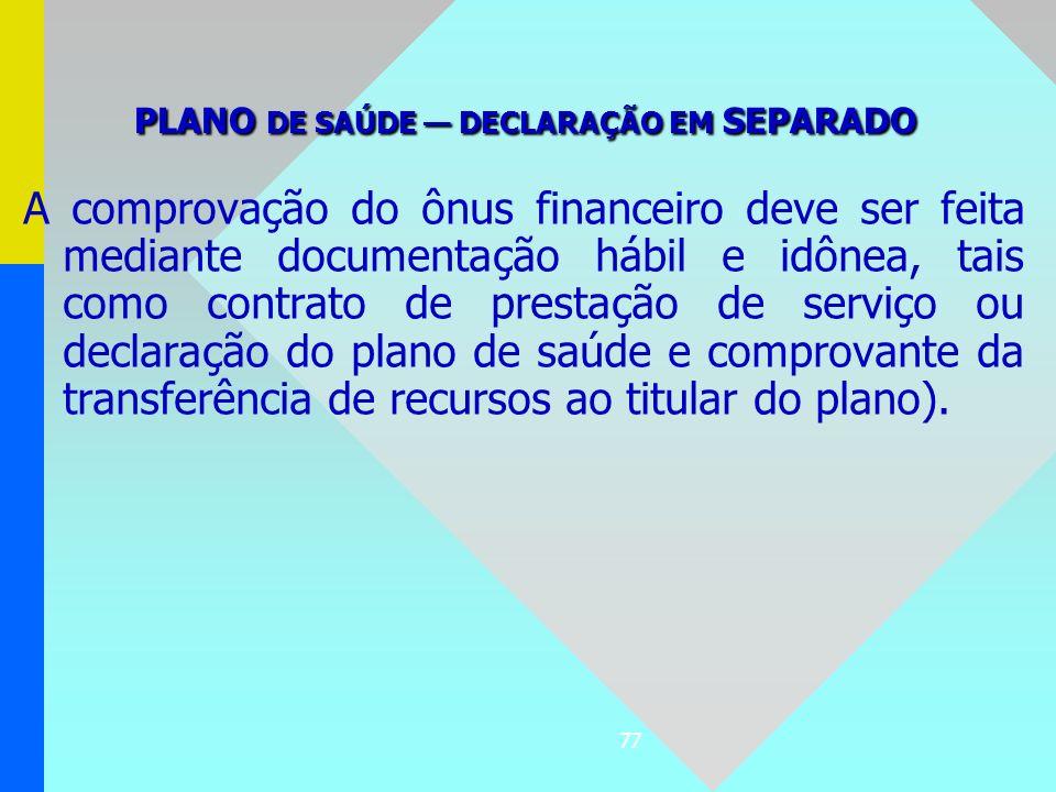 77 A comprovação do ônus financeiro deve ser feita mediante documentação hábil e idônea, tais como contrato de prestação de serviço ou declaração do p