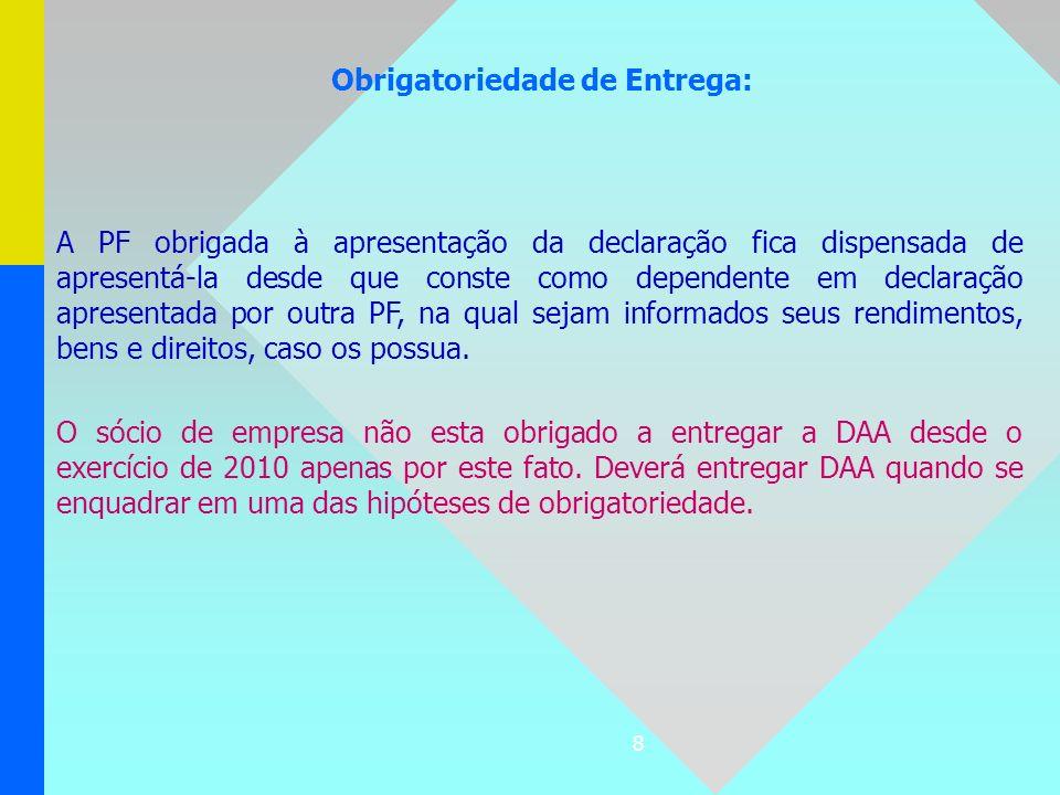 8 Obrigatoriedade de Entrega: A PF obrigada à apresentação da declaração fica dispensada de apresentá-la desde que conste como dependente em declaraçã