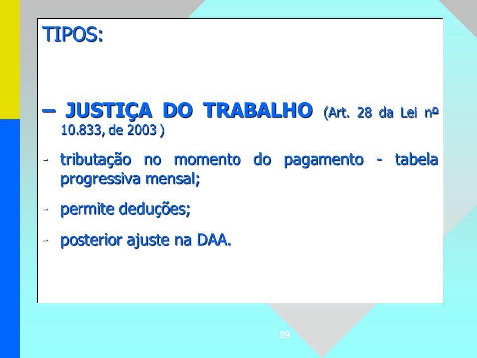 89 TIPOS: – JUSTIÇA DO TRABALHO (Art. 28 da Lei nº 10.833, de 2003 ) -tributação no momento do pagamento - tabela progressiva mensal; -permite deduçõe