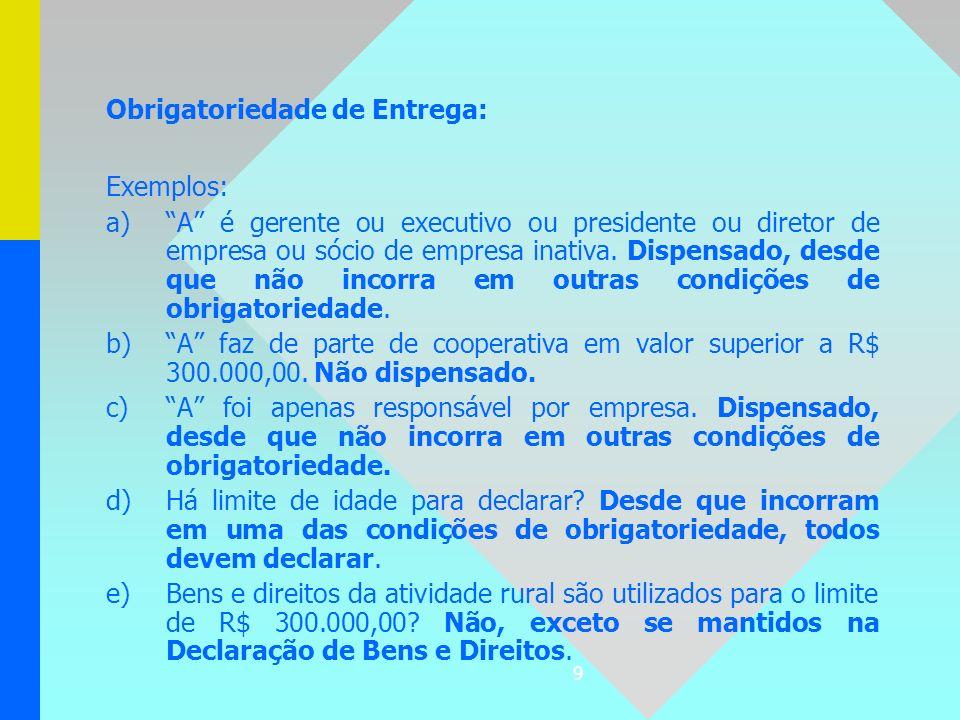 9 Obrigatoriedade de Entrega: Exemplos: a) a)A é gerente ou executivo ou presidente ou diretor de empresa ou sócio de empresa inativa. Dispensado, des