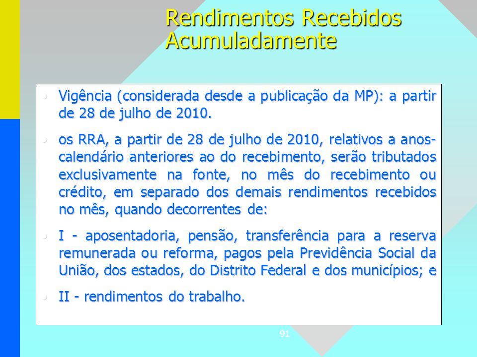 91 Vigência (considerada desde a publicação da MP): a partir de 28 de julho de 2010.Vigência (considerada desde a publicação da MP): a partir de 28 de