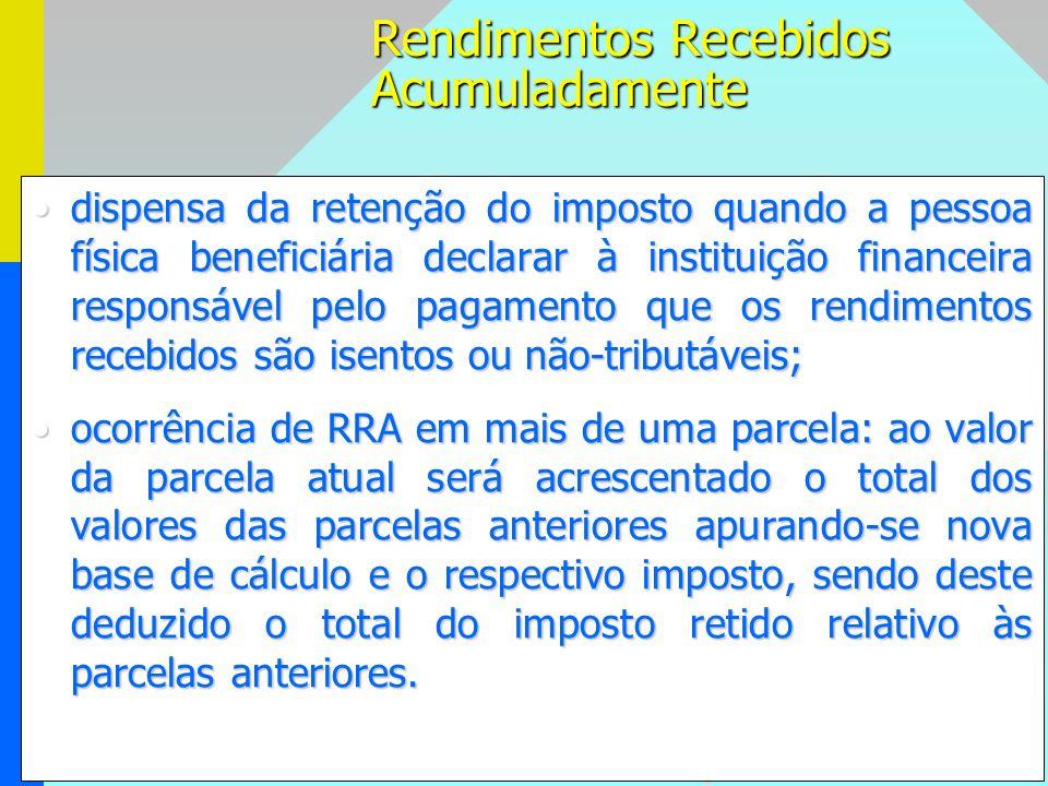 97 dispensa da retenção do imposto quando a pessoa física beneficiária declarar à instituição financeira responsável pelo pagamento que os rendimentos