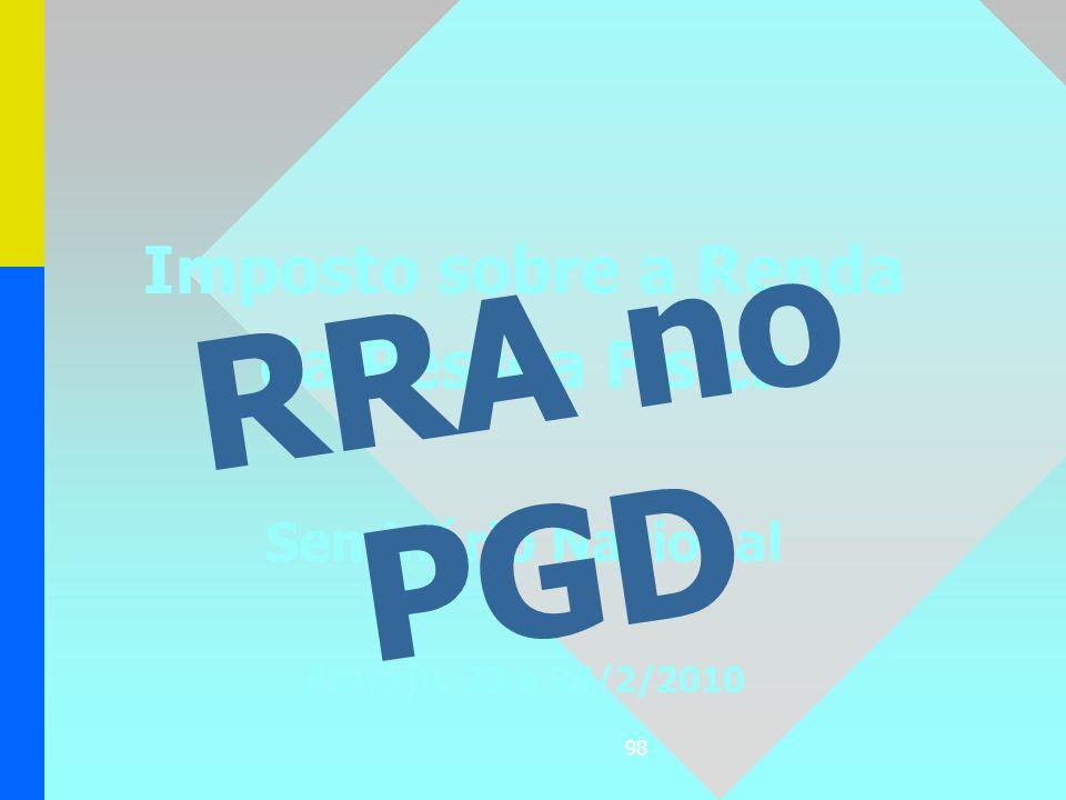 98 Imposto sobre a Renda da Pessoa Física Seminário Nacional Aracaju, 23 a 26/2/2010 RRA no PGD