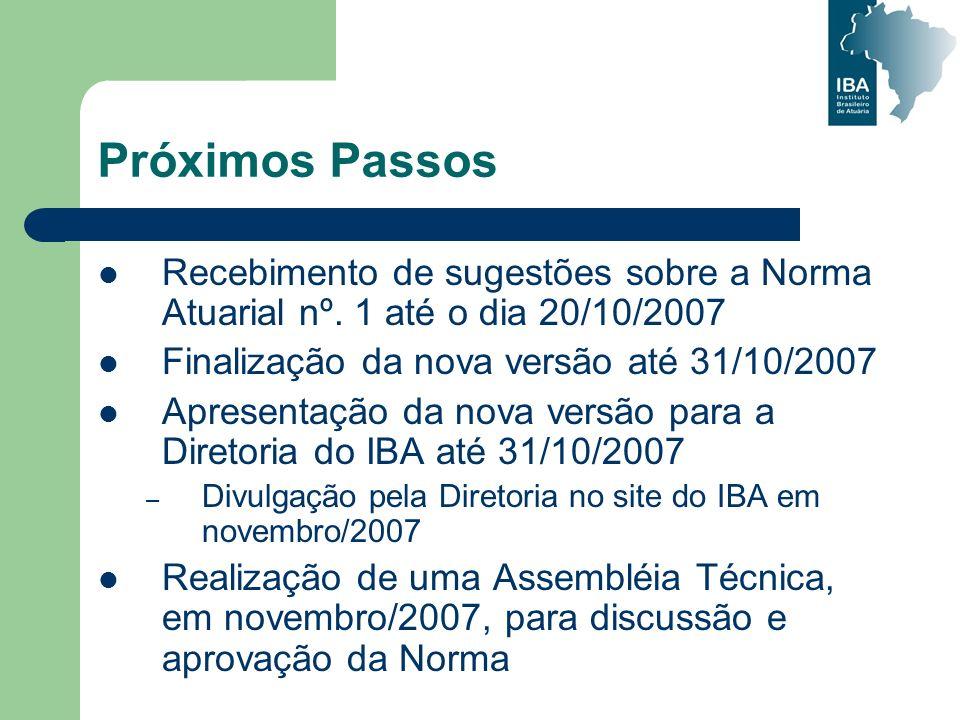 Próximos Passos Recebimento de sugestões sobre a Norma Atuarial nº. 1 até o dia 20/10/2007 Finalização da nova versão até 31/10/2007 Apresentação da n