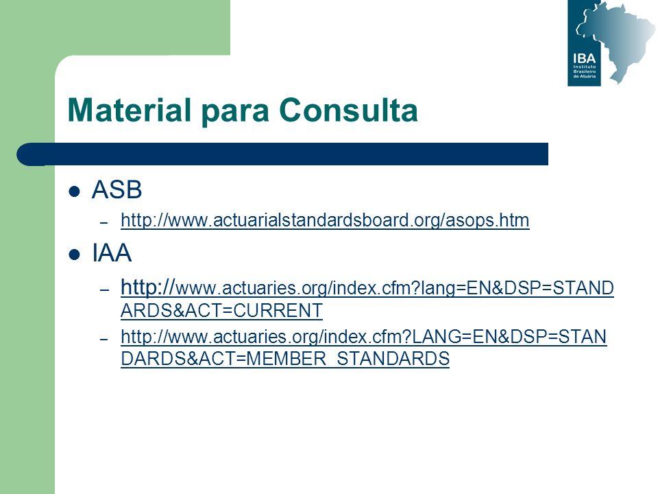 ASB – http://www.actuarialstandardsboard.org/asops.htm http://www.actuarialstandardsboard.org/asops.htm IAA – http:// www.actuaries.org/index.cfm?lang