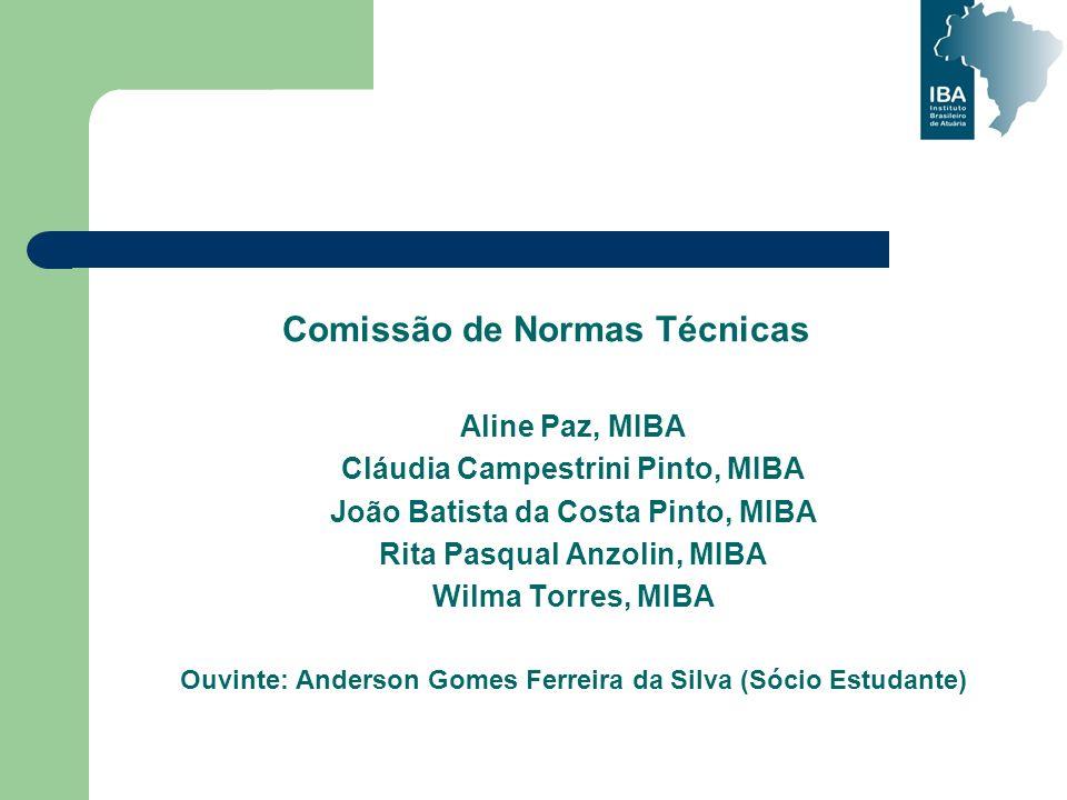 Comissão de Normas Técnicas Aline Paz, MIBA Cláudia Campestrini Pinto, MIBA João Batista da Costa Pinto, MIBA Rita Pasqual Anzolin, MIBA Wilma Torres,