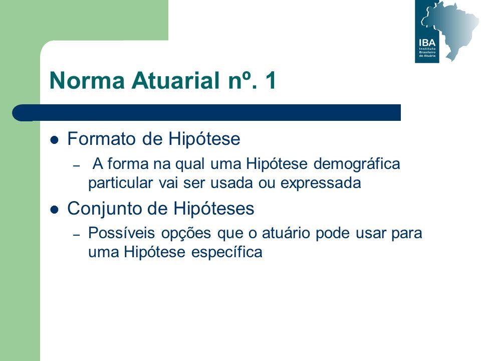 Norma Atuarial nº. 1 Formato de Hipótese – A forma na qual uma Hipótese demográfica particular vai ser usada ou expressada Conjunto de Hipóteses – Pos