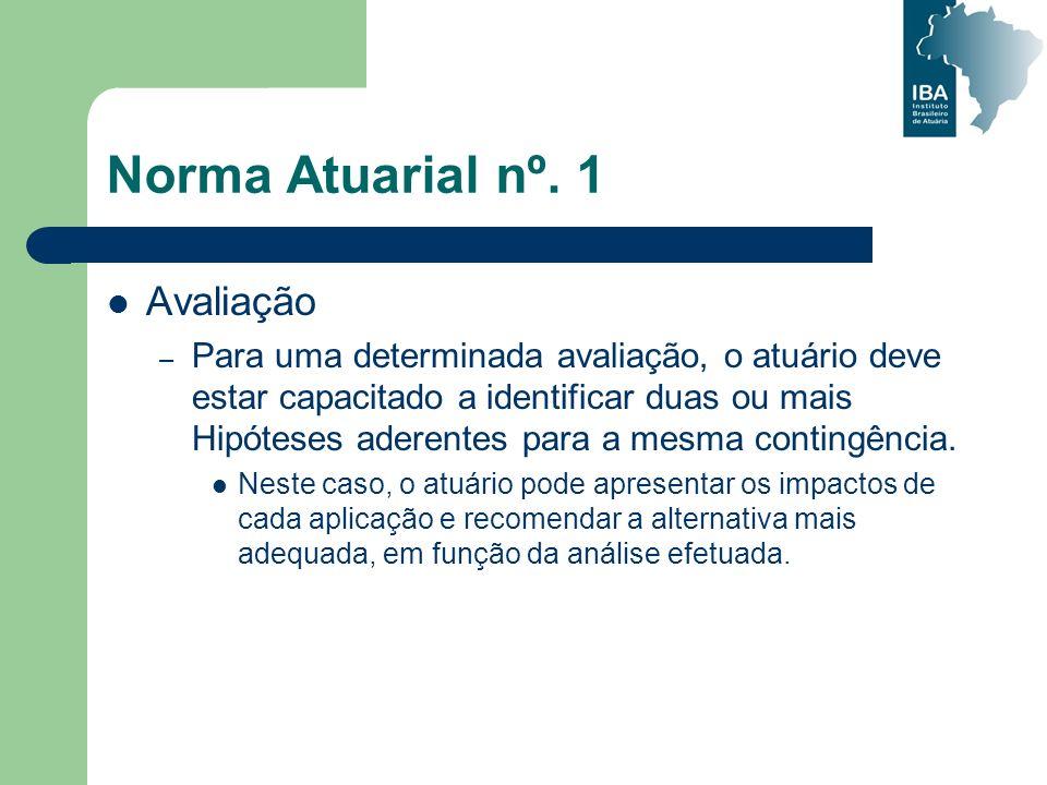 Norma Atuarial nº. 1 Avaliação – Para uma determinada avaliação, o atuário deve estar capacitado a identificar duas ou mais Hipóteses aderentes para a