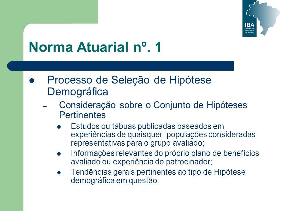 Norma Atuarial nº. 1 Processo de Seleção de Hipótese Demográfica – Consideração sobre o Conjunto de Hipóteses Pertinentes Estudos ou tábuas publicadas
