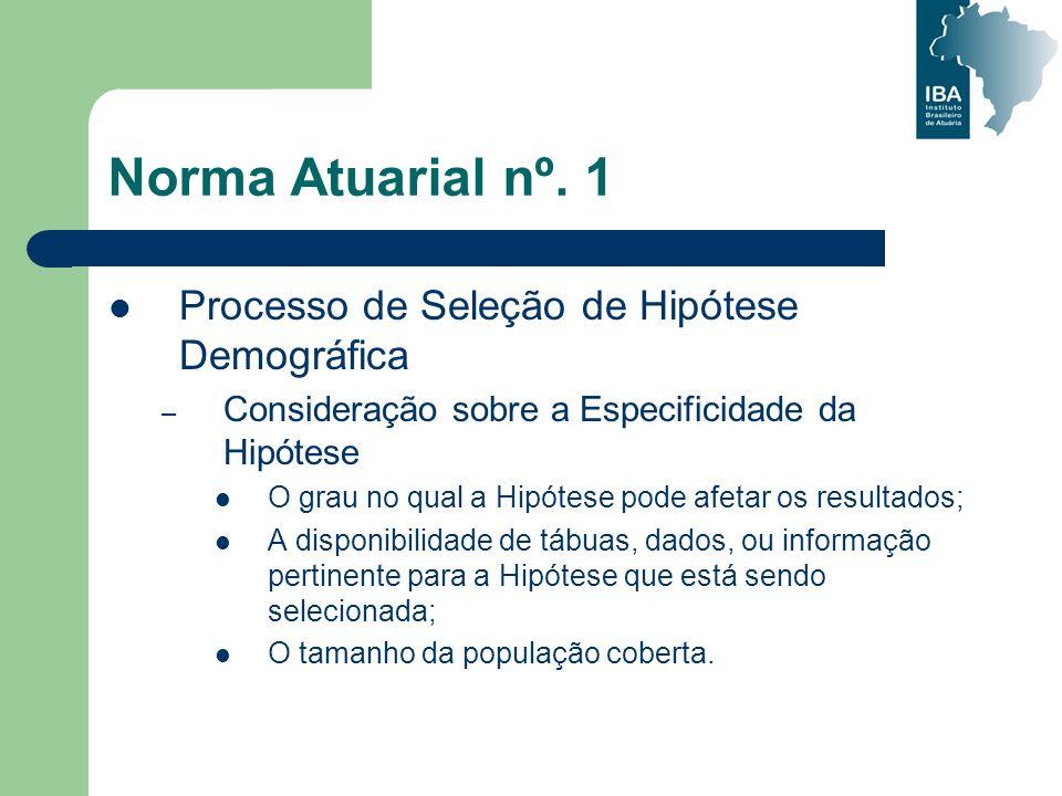 Norma Atuarial nº. 1 Processo de Seleção de Hipótese Demográfica – Consideração sobre a Especificidade da Hipótese O grau no qual a Hipótese pode afet