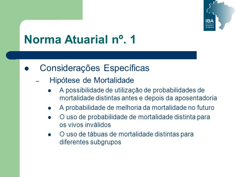 Norma Atuarial nº. 1 Considerações Específicas – Hipótese de Mortalidade A possibilidade de utilização de probabilidades de mortalidade distintas ante