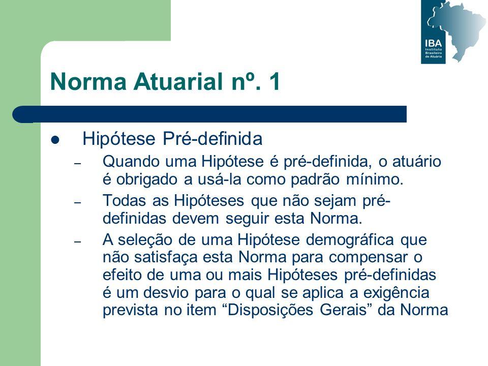 Norma Atuarial nº. 1 Hipótese Pré-definida – Quando uma Hipótese é pré-definida, o atuário é obrigado a usá-la como padrão mínimo. – Todas as Hipótese