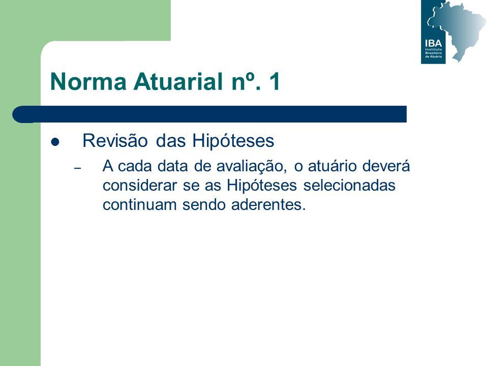 Norma Atuarial nº. 1 Revisão das Hipóteses – A cada data de avaliação, o atuário deverá considerar se as Hipóteses selecionadas continuam sendo aderen