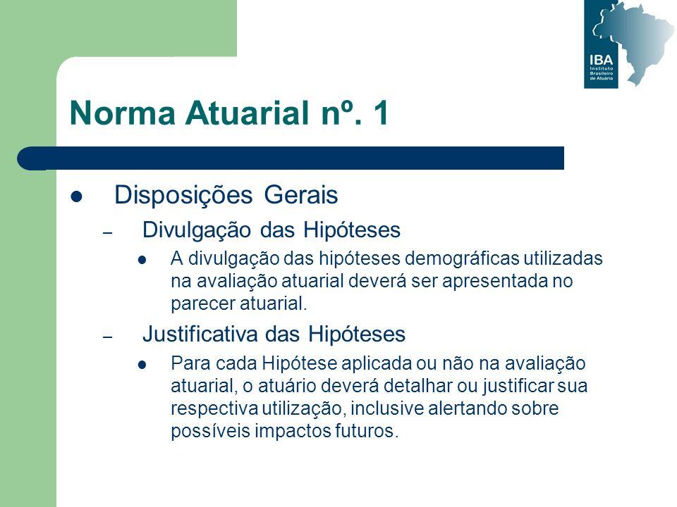 Norma Atuarial nº. 1 Disposições Gerais – Divulgação das Hipóteses A divulgação das hipóteses demográficas utilizadas na avaliação atuarial deverá ser