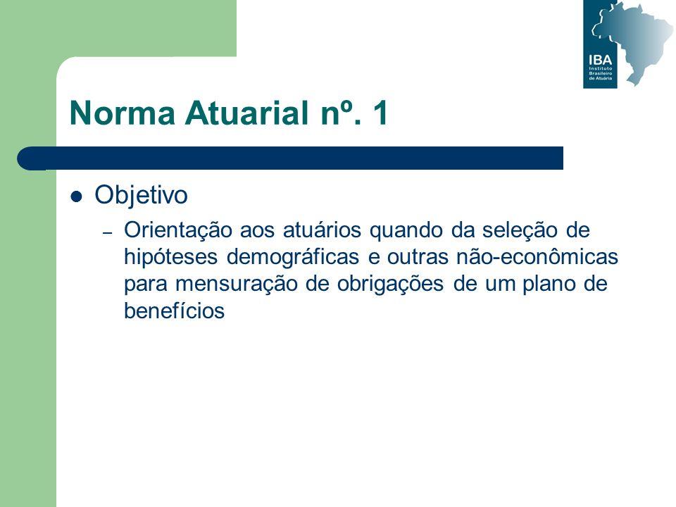 Norma Atuarial nº. 1 Objetivo – Orientação aos atuários quando da seleção de hipóteses demográficas e outras não-econômicas para mensuração de obrigaç