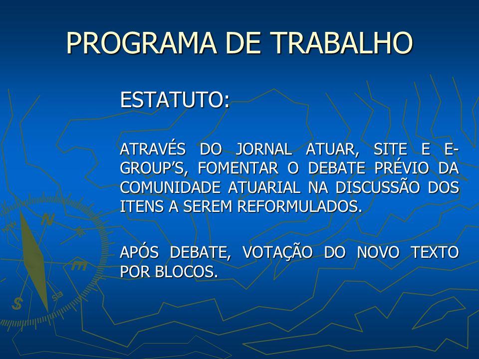 PROGRAMA DE TRABALHO ESTATUTO: ATRAVÉS DO JORNAL ATUAR, SITE E E- GROUPS, FOMENTAR O DEBATE PRÉVIO DA COMUNIDADE ATUARIAL NA DISCUSSÃO DOS ITENS A SEREM REFORMULADOS.