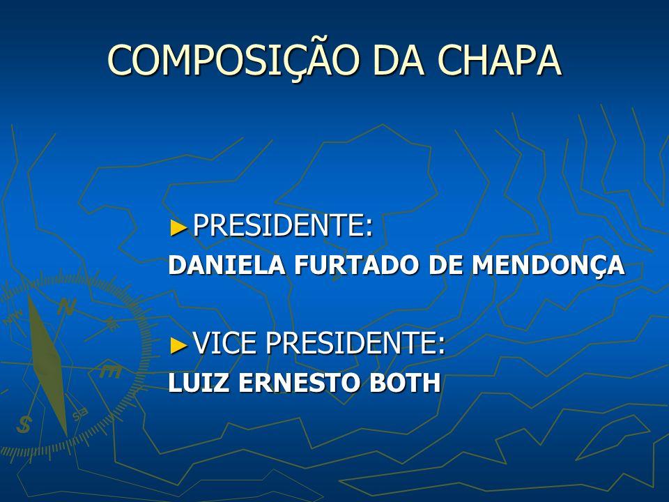COMPOSIÇÃO DA CHAPA PRESIDENTE: PRESIDENTE: DANIELA FURTADO DE MENDONÇA VICE PRESIDENTE: VICE PRESIDENTE: LUIZ ERNESTO BOTH
