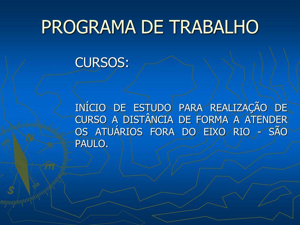 PROGRAMA DE TRABALHO CURSOS: INÍCIO DE ESTUDO PARA REALIZAÇÃO DE CURSO A DISTÂNCIA DE FORMA A ATENDER OS ATUÁRIOS FORA DO EIXO RIO - SÃO PAULO.