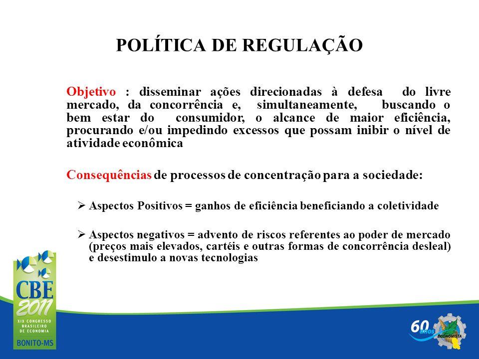 POLÍTICA DE REGULAÇÃO Objetivo : disseminar ações direcionadas à defesa do livre mercado, da concorrência e, simultaneamente, buscando o bem estar do