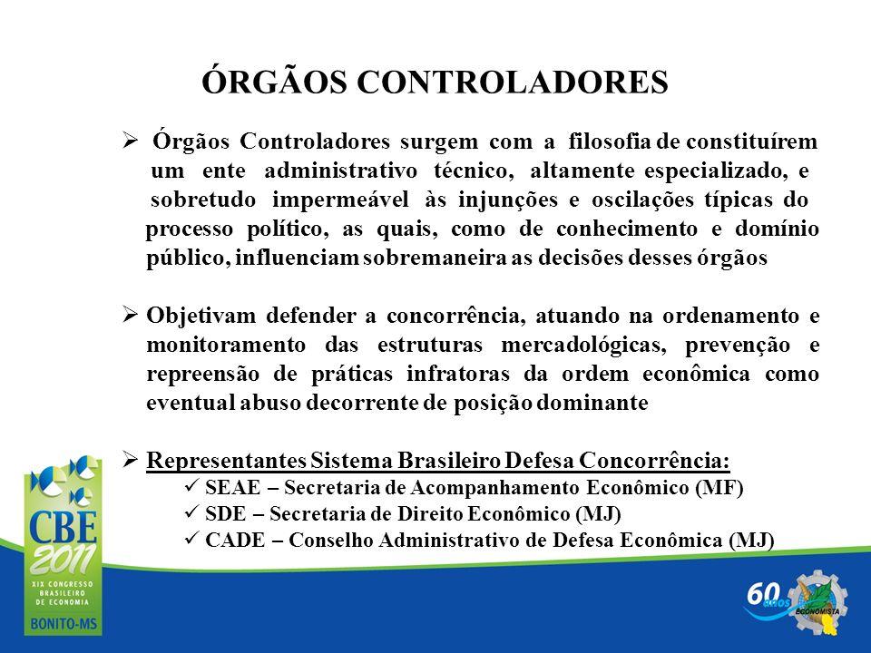 ÓRGÃOS CONTROLADORES Órgãos Controladores surgem com a filosofia de constituírem um ente administrativo técnico, altamente especializado, e sobretudo