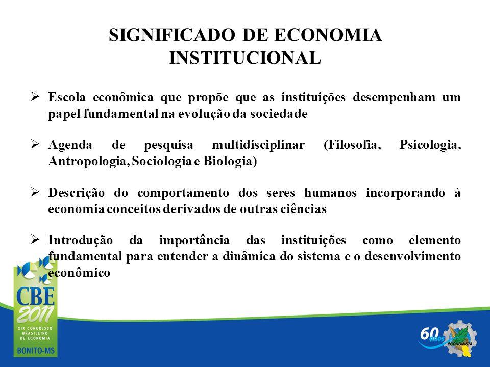 SIGNIFICADO DE ECONOMIA INSTITUCIONAL Escola econômica que propõe que as instituições desempenham um papel fundamental na evolução da sociedade Agenda
