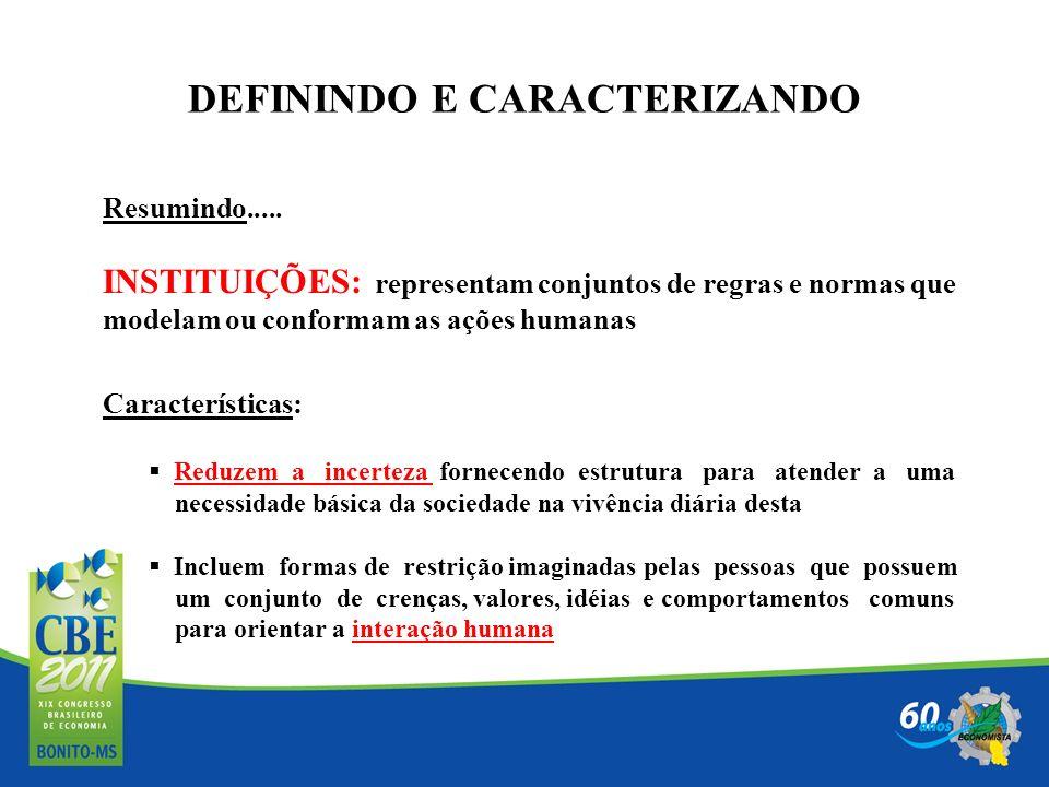 DEFININDO E CARACTERIZANDO Resumindo..... INSTITUIÇÕES: representam conjuntos de regras e normas que modelam ou conformam as ações humanas Característ
