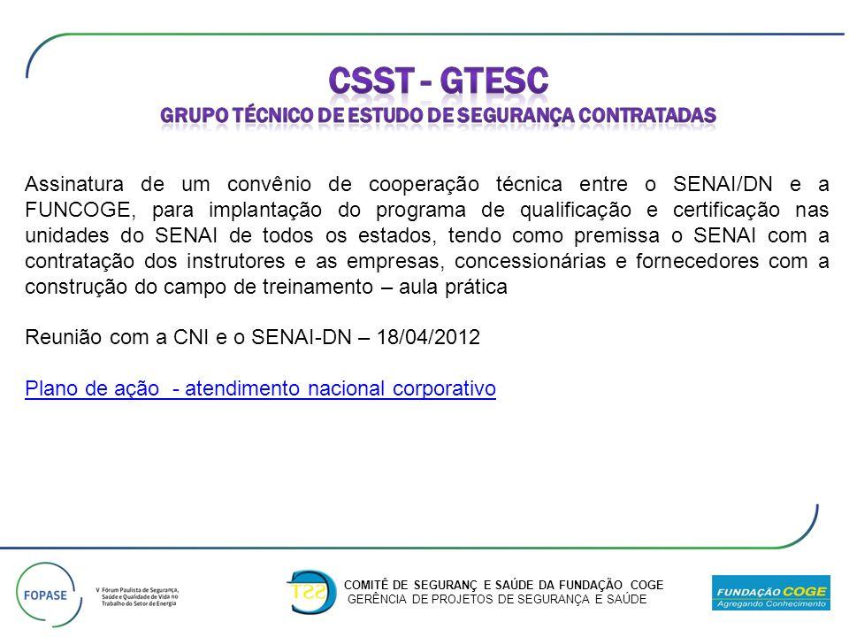 Assinatura de um convênio de cooperação técnica entre o SENAI/DN e a FUNCOGE, para implantação do programa de qualificação e certificação nas unidades