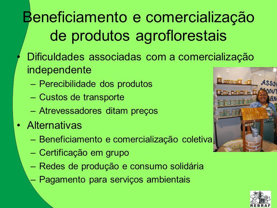 Beneficiamento e comercialização de produtos agroflorestais Dificuldades associadas com a comercialização independente –Perecibilidade dos produtos –C
