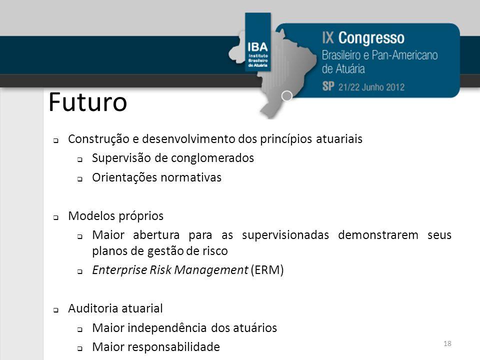 Futuro 18 Construção e desenvolvimento dos princípios atuariais Supervisão de conglomerados Orientações normativas Modelos próprios Maior abertura par