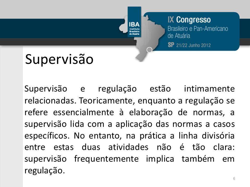 Supervisão Supervisão e regulação estão intimamente relacionadas. Teoricamente, enquanto a regulação se refere essencialmente à elaboração de normas,