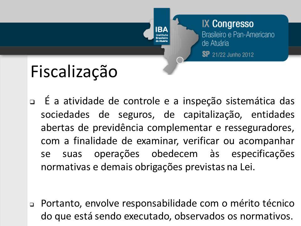Fiscalização É a atividade de controle e a inspeção sistemática das sociedades de seguros, de capitalização, entidades abertas de previdência compleme