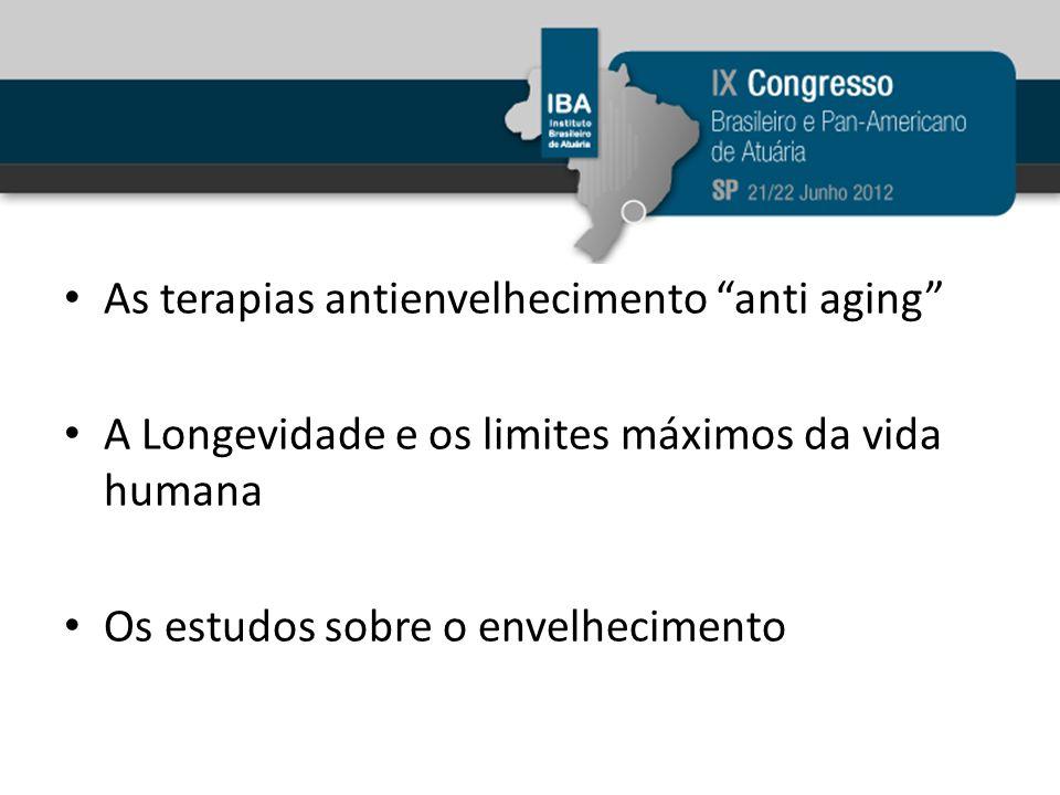Os esforços no sentido de interferir nos mecanismos responsáveis pelo envelhecimento As reposições, complementações de determinadas carências e perdas relacionadas ao processo de envelhecimento Outras intervenções e Terapias antienvelhecimento