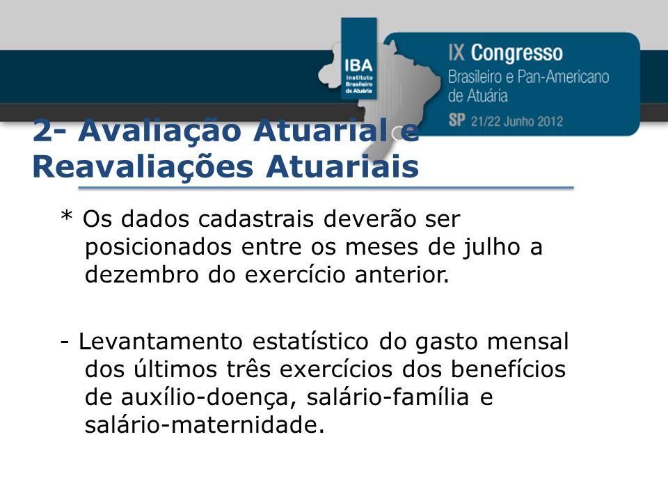 2- Avaliação Atuarial e Reavaliações Atuariais * Os dados cadastrais deverão ser posicionados entre os meses de julho a dezembro do exercício anterior
