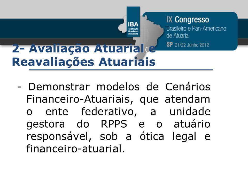 2- Avaliação Atuarial e Reavaliações Atuariais - Demonstrar modelos de Cenários Financeiro-Atuariais, que atendam o ente federativo, a unidade gestora