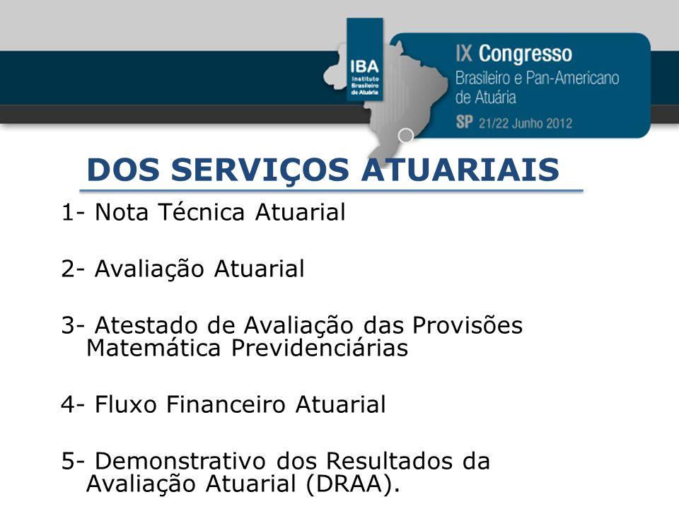 DOS SERVIÇOS ATUARIAIS 1- Nota Técnica Atuarial 2- Avaliação Atuarial 3- Atestado de Avaliação das Provisões Matemática Previdenciárias 4- Fluxo Finan