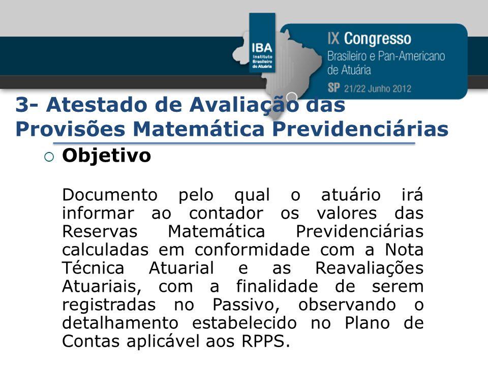3- Atestado de Avaliação das Provisões Matemática Previdenciárias Objetivo Documento pelo qual o atuário irá informar ao contador os valores das Reser