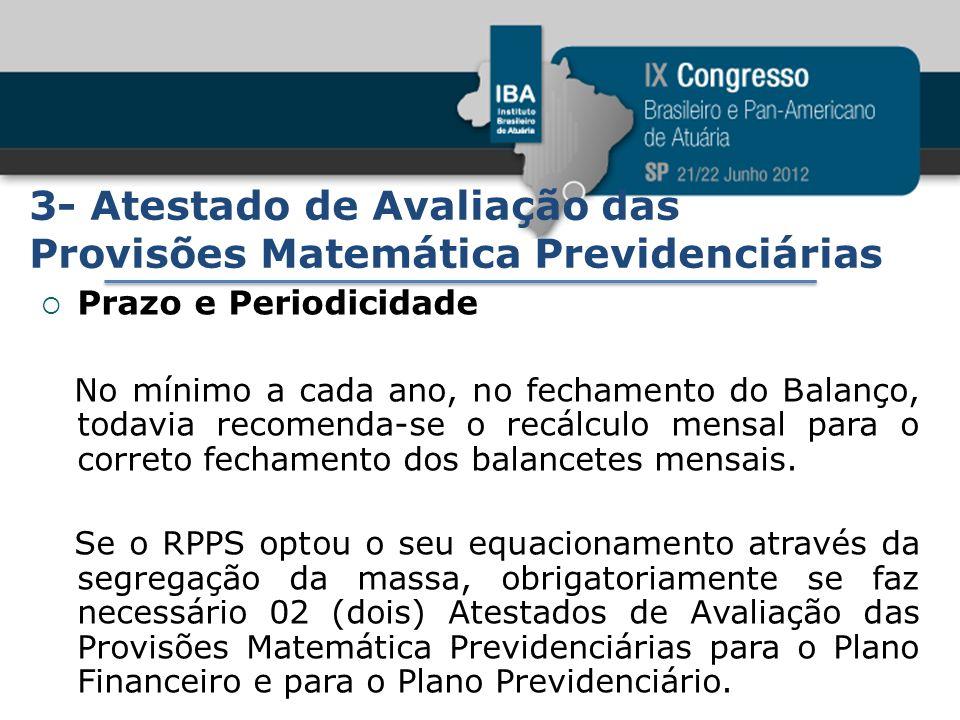 3- Atestado de Avaliação das Provisões Matemática Previdenciárias Prazo e Periodicidade No mínimo a cada ano, no fechamento do Balanço, todavia recome