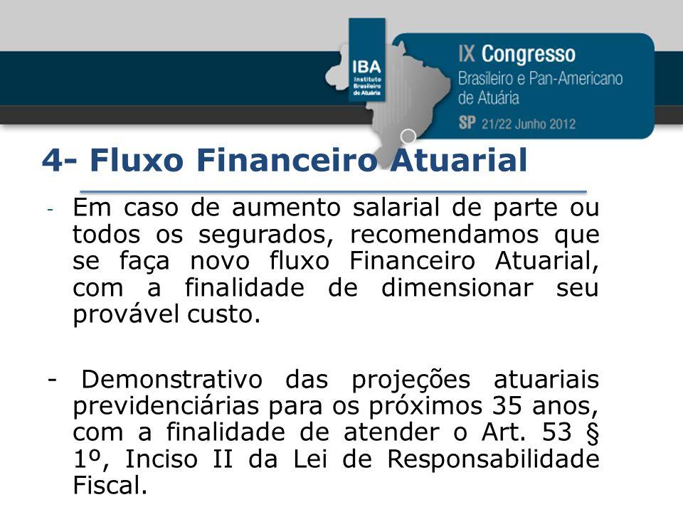 4- Fluxo Financeiro Atuarial - Em caso de aumento salarial de parte ou todos os segurados, recomendamos que se faça novo fluxo Financeiro Atuarial, co