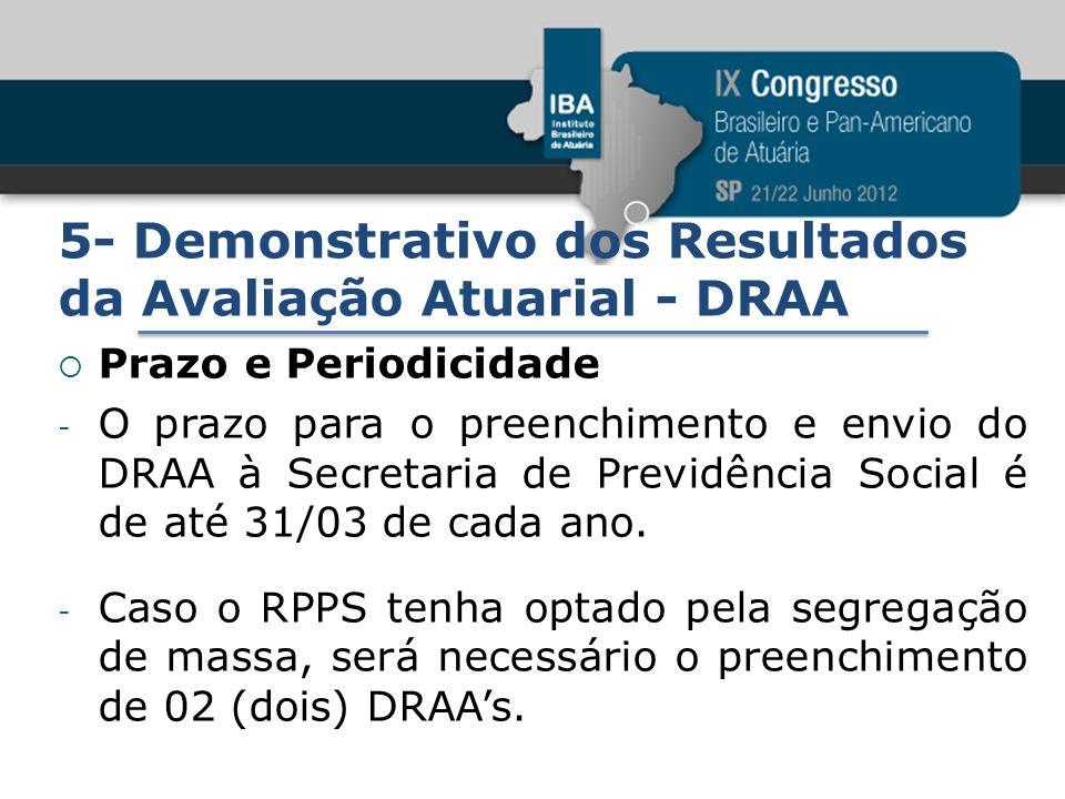 5- Demonstrativo dos Resultados da Avaliação Atuarial - DRAA Prazo e Periodicidade - O prazo para o preenchimento e envio do DRAA à Secretaria de Prev