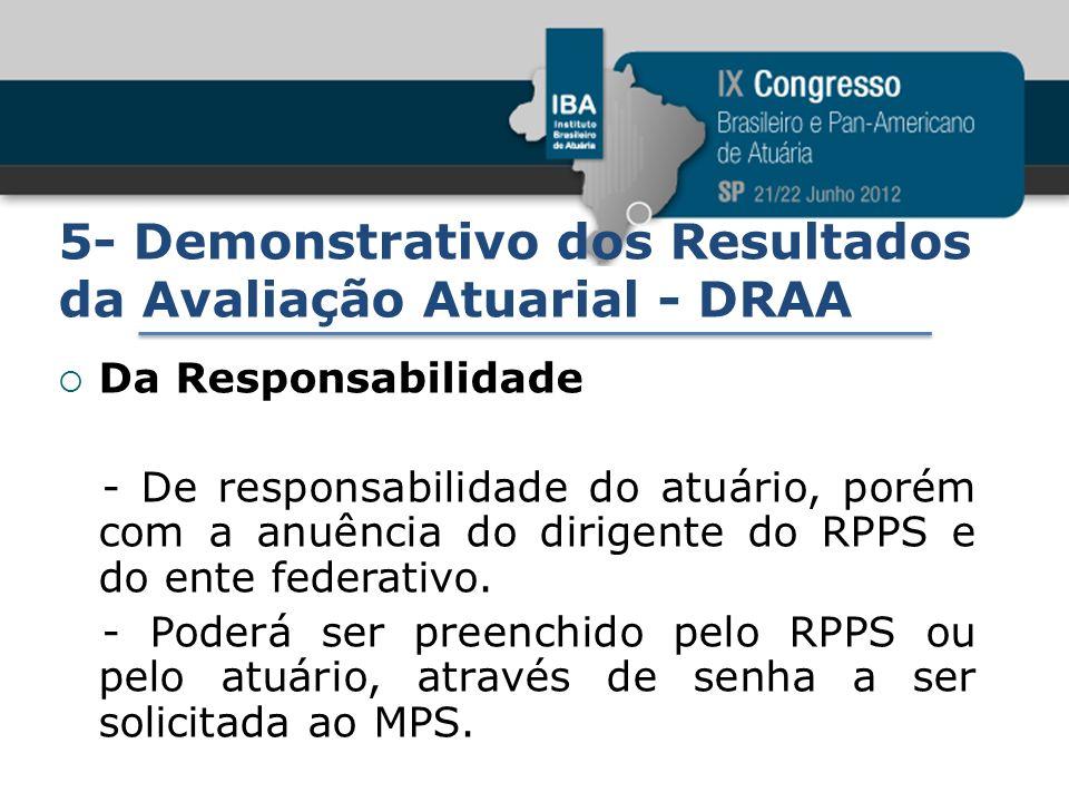 5- Demonstrativo dos Resultados da Avaliação Atuarial - DRAA Da Responsabilidade - De responsabilidade do atuário, porém com a anuência do dirigente d